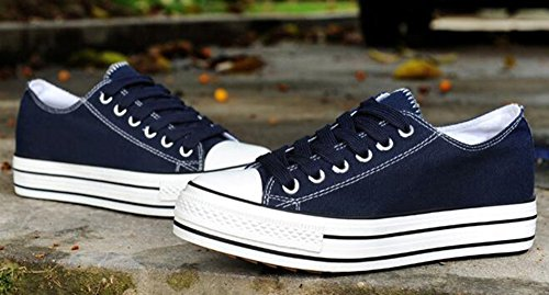 Aisun Damen Niedrig Absatz Schnürsenkel Canvas Schuhe Turnschuhe Blau