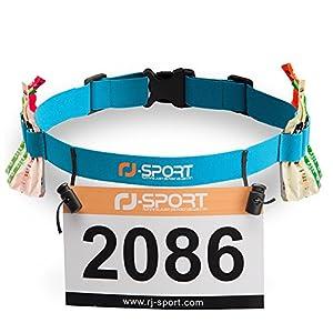 RJ-Sport Triathlon Startnummernband Laufgurt mit Nummernhalter & 6 Gel-Halter für Joggen Radfahren Marathons