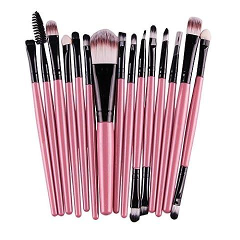 Longra 15 PC / Sätze Lidschatten Stiftung Augenbraue Lippenpinsel Make-up Pinsel Werkzeug (Rosa)