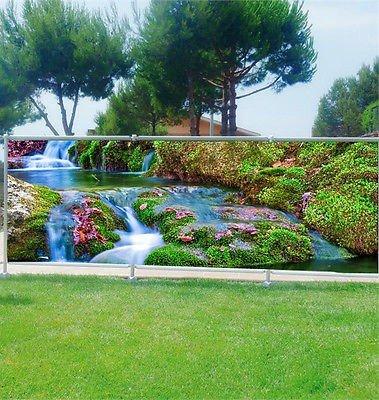 Stickersnews - Brise vue personnalisé, jardin, terrasse, balcon déco Ruisseau réf 9103 Occultation - 100%, Dimensions - 180x70cm