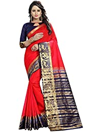 SATYAM WEAVES WOMEN'S ETHNIC WEAR KANJIVARAM COTTON SILK SAREE. (HIRANN)