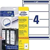 AVERY Zweckform L4761REV-10 Ordnerrücken Etiketten (mit ultragrip, 61 x 192 mm auf DIN A4, wiederablösbar, breit/kurz, selbstklebend, blickdicht, 40 Rückenschilder auf 10 Blatt) weiß