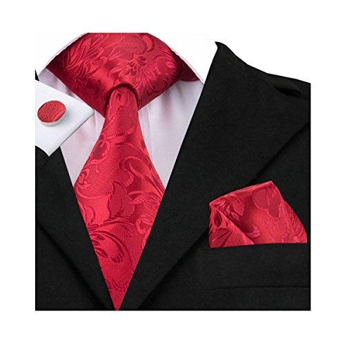 Hi-Tie Herren Krawatte Einheitsgröße, Red, Einheitsgröße