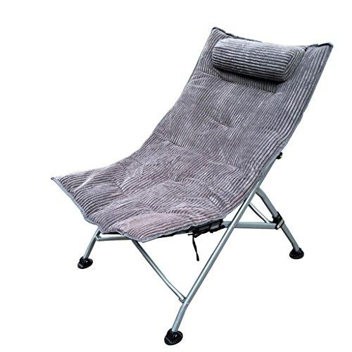 Qiangzi Strand Klappstuhl Recliner Stuhl Klappstühle Büro Nap Single Lounge Stuhl Kinder Sonnenliege Hocker, Grau Strandstuhl Stoff