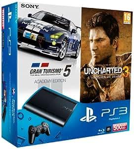 Console PS3 Ultra slim 500 Go noire + Gran Turismo 5 - édition academy + Uncharted 3 : l'illusion de Drake - édition jeu de l'année