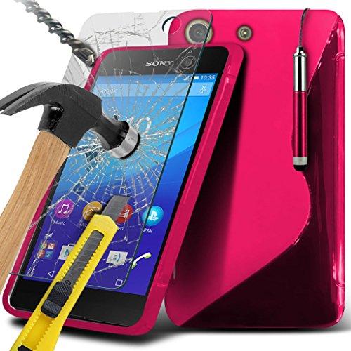 Étui pour Sony Xperia M5 / Sony Xperia M5 E5603, E5606, E5653 Titulaire de téléphone Case voiture universel Mont Cradle Dashboard & pare-brise pour iPhone yi -Tronixs Wave Gel+ Glass ( Hot Pink )