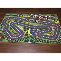 Non Slip Kids Racing Track Playmat / Rug 100cm x 150cm