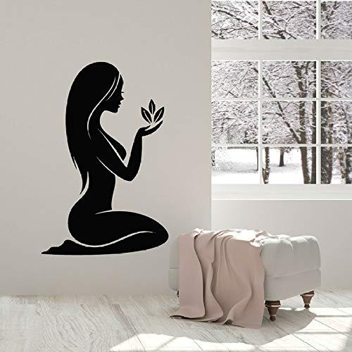 JXTK 57x86 cm Sticker Mural Fille Nue Fleur Naturelle Massage Salon de beauté décoration intérieure fenêtre Autocollant de Vinyle imperméable Art Mural