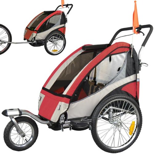 Rimorchio porta-bimbo biammortizzato per bicicletta con set da jogging - ROSSO 504S-01