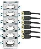 Trango® 6x TG6729S-6 Quadrat Edel LUXUS Design Einbaustrahler Spiegelglas & Alu Einbauleuchten Deckenleuchten GU10 schwenkbar 230V