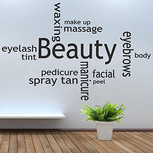 Price comparison product image iClobber Beauty Salon Collage Spray Tan Nail Polish Wall Art Mural Sticker Quote Picture Vinyl Art Design Wall Art Mural Sticker Quote Picture Vinyl Art Large Black