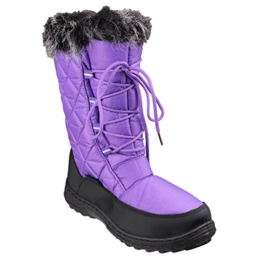 Braune Winter-ski-stiefel (Cotswold Ladies Gale Faux Fur Trim Waterproof Leather Snow Boot Pink)