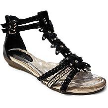 Damen Sandalen Sandaletten ST98 Keilabsatz Blumen Glitzer Zehentrenner 2d2be383be