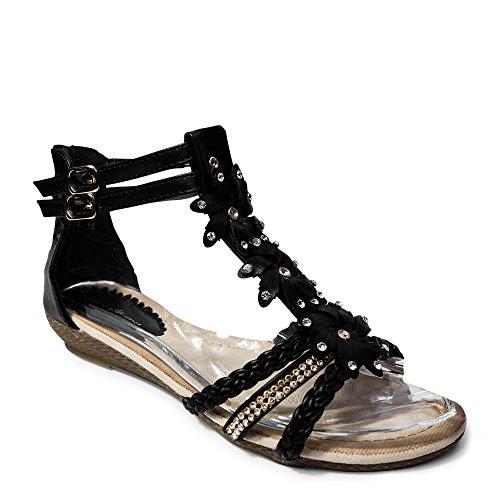 Damen Sandalen Sandaletten ST98 Keilabsatz Blumen Glitzer Zehentrenner (40, Schwarz) Sexy Sandale