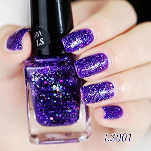 Nagellack, FEITONG Gel Nagel Manicure 6ml Diamant Glitzer Nagellack Sequins Gel Nail (6ml, A) (Led-nagel-lampe Sally Hansen)