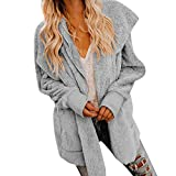 Wintermantel Damen Mantel,Frauen Mode Winter Frauen Kapuze Cardigan Pocket Langarm Open Front Jacket Coat Oberbekleidung Coat Outdoor (Farbe : Grau, Größe : S)