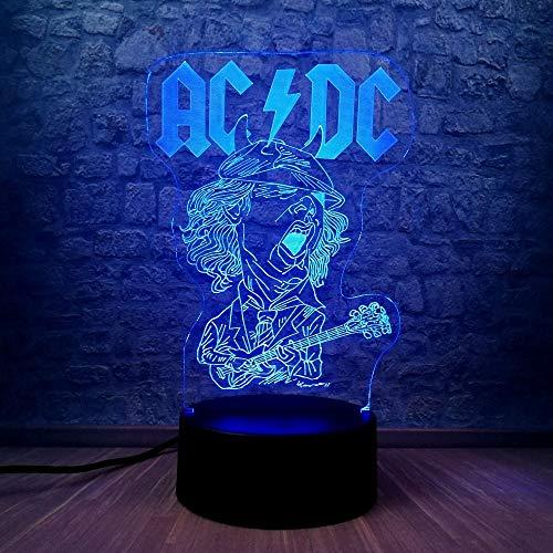 wangZJ Lámpara de ilusión 3d / estado de ánimo Luz de noche / 7 colores cambiantes Luz de noche táctil/juguetes para niños Regalo/dormitorio Decoración/Banda de balancines