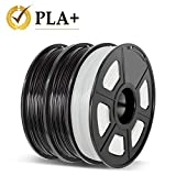 Enotepad 3D Printer Filament Set PLA+ 1.75mm 3x500g Black Black Translucent White, PLA Plus +/- 0.02mm 3D Printing Filament, for 3D Printer and 3D pen