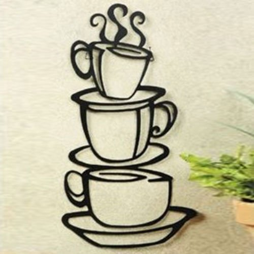 Coffee House Cup Java Silhouette Wand Kunst Aufkleber, Metall schwarz Finish (Java-finish)