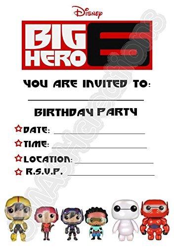 A5Disney Big Hero 6Kinder Party Einladungen x 12-Big Hero 6Cast Line (Hero Big Kind 6)