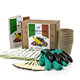 Italian Vegetable and Herb Seeds Box Growing Kit - Complete Grow Your Own Garden Set - Gloves with Claws - 20 Seeds Packets - Ideal Gardening Gift