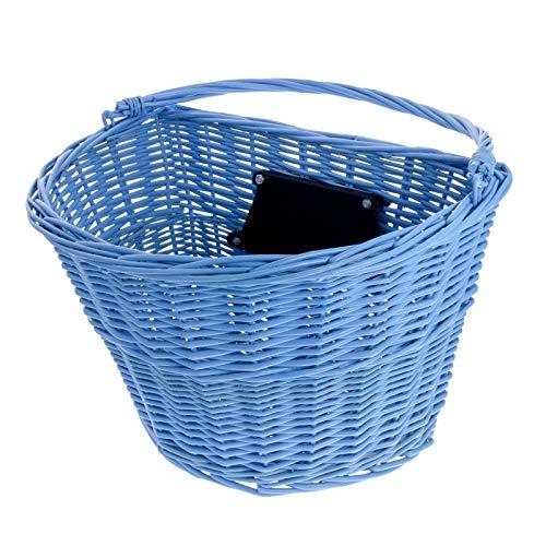 Smartfox geflochtener Weidenkorb Fahrradkorb Lenkerkorb Vorderkorb Einkaufskorb für Fahrrad City-Bike Vintage-Style in blau