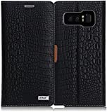 Galaxy Note 8 Case, Galaxy Note 8 Wallet Case, WWW [Crocodile Pattern] Premium PU Leather Wallet Case Flip Phone Case Cover with Card Slots for Samsung Galaxy Note 8 Black