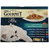 Purina Gourmet Perle Mixed Variety Ocean Delicacies Mini Fillets In Gravy Adult Wet Cat Food, 12 x 85g