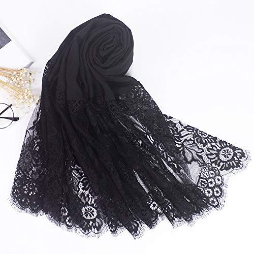 Tdpyt sciarpa autunnale e invernale scialle in pizzo scialle a 100 posti 190 * 80cm nero