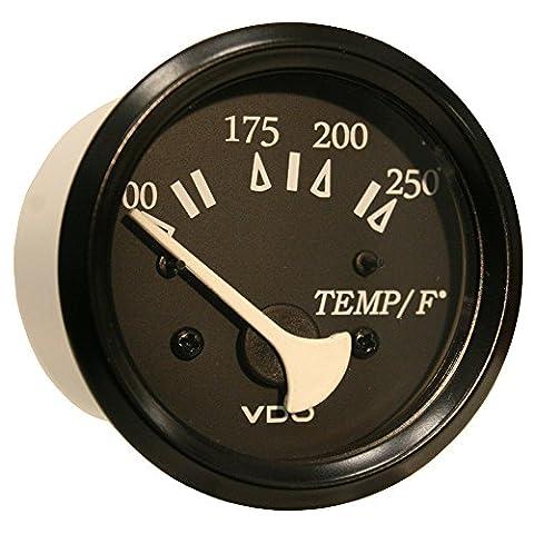 VDO Allentare Black 250° F Water Temperature Gauge - Use w/Marine 450-29 Ohm Sender - 12V - Black Bezel