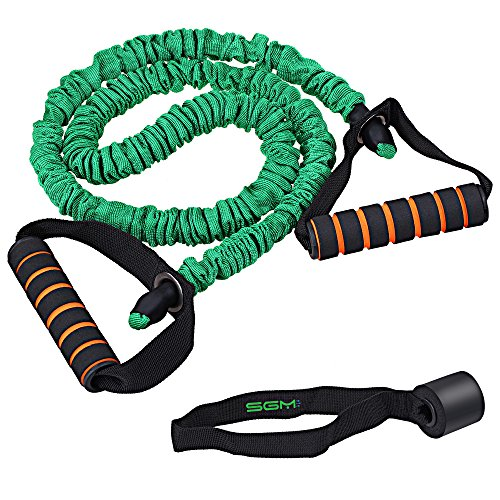 SGM Exercise Band, Stretch Resistance Band With Door Anchor, Equipment Tube Cords With Foam Handle For Workout