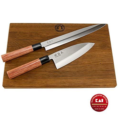 Exklusives Kai Seki Magoroku Redwood Messerset, bestehend aus: 1 Yanagiba (Sushi-Messer), 24 cm...