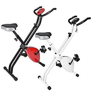 ReaseJoy Foldable Magnetic Exercise Bike Folding X Bike Cardio Fitness Workout Weight Loss Cycle Bicycle Home Cycling Machine 2.5KG Flywheel with LCD Display Adjustable Seat Pulse Sensor Grips by ReaseJoy