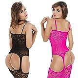 LOVELYBOBO 2-Pack Womens Fishnet Striped Lingerie Crotchless Bodysuits Bodystockings Suspenders(Black+Pink)