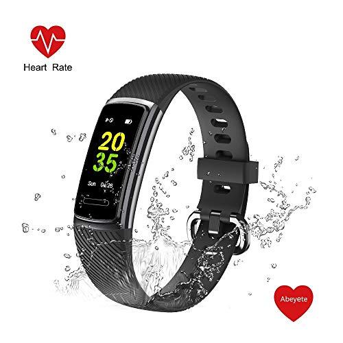 Imagen de abeyete pulsera de actividad reloj inteligente para hombre y mujer ip68 impermeable con 14 modos de deportivo con pulsómetro sueño podómetro calorías pulsera deporte para ios y android negro