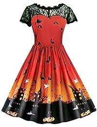 6b625a85ca Saihui Women Dress Vestido Rockabilly Vintage 1950s para Mujer Retro Audrey  Illusion Lace Barco Cuello Swing Fiesta Cóctel Vestido Traje para…