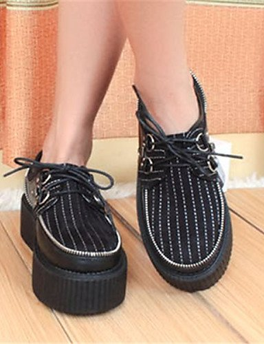 ZQ Scarpe Donna - Stringate - Casual - Creepers / Punta arrotondata - Plateau - Finta pelle - Nero , black-us8 / eu39 / uk6 / cn39 , black-us8 / eu39 / uk6 / cn39 black-us5.5 / eu36 / uk3.5 / cn35