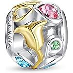 Glamulet® Gold Rose Corazones Calado Charms Pandora Swarovski, Plata de ley 925perlas pulsera de Pandora