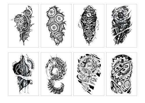PAMO 8 Blätter Temporäre Tattoos Aufkleber Halbe Brust ArmTattoo Männer Tribal Totem Tattoo Body Art Aufkleber für Halloween Beach Pool Party Supplies Party Favor Decor Dress up Kostüm - Body Paint Kostüm Männer