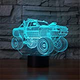 3D Lamp USB Power 7 Colors Amazing Optical Illusion 3D Grow LED Lamp Car Shapes Kids Bedroom Night Light