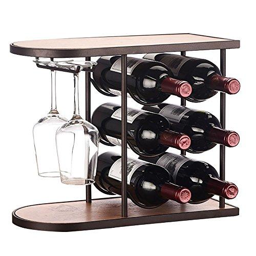 Weinregale Holz Freistehende Boden Metall Haushalt Ornamente Flaschenregal Multi-Flasche Display-Stand Modern Einfach (Größe : 6 Bottles) (Multi Kommode)