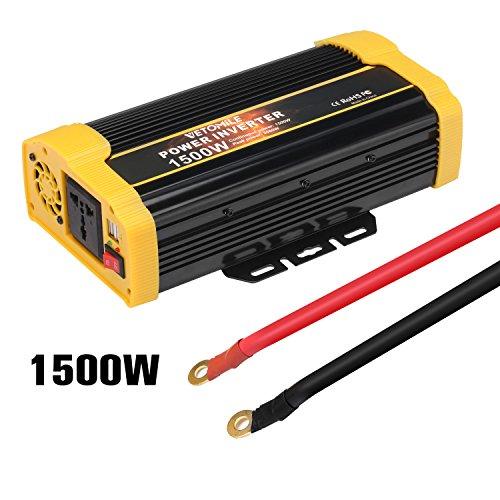 Vetomile - 1500W Spannungswandler Wechselrichter (DC 12V auf 230V AC, 2 Steckdosen, 2 2.1A USB Ports, Modifizierte Sinuswelle, Auto Power Inverter)