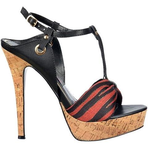 Onlineshoe Ladies T Bar Cork Platform Stiletto Sandal - Tela Detalle Toe - Negro