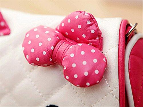Scheppend bambine carino principessa fiocco di nastro tallone Messenger spalla borsa borsetta borsa (rosa) Rosa