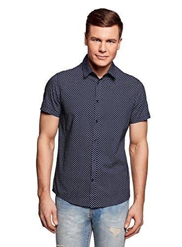 Oodji ultra uomo camicia aderente con stampa fitta, blu, 42.5cm / it 50-52 / eu 52-54 / l