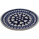 Polish Pottery Boleslawiec Plate, Side Plate, 16cm, in MIXED HEART pattern