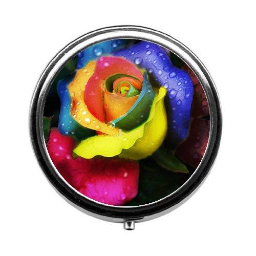 Newing Colorful Roses Rund/Pillendose Tablettenbox Gase • 3Fächer für Halten Pillen separaten/Pillendose Tablettenbox Fall