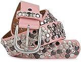 styleBREAKER Nietengürtel im Vintage Design mit echtem Leder, verschiedenen Nieten und Strass, kürzbar, Damen 03010051, Farbe:Rosa;Größe:90cm