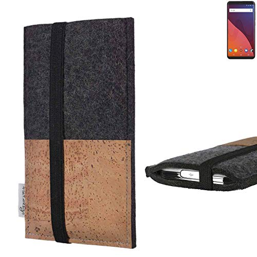 flat.design Handy Hülle Sintra für Wiko View 32 GB Handytasche Filz Tasche Schutz Kartenfach Case Natur Kork