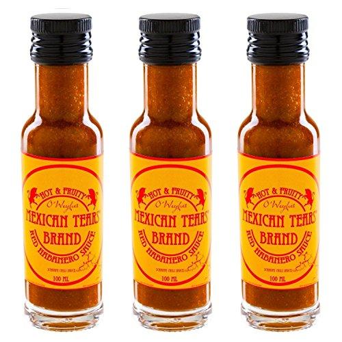 Mexican Tears® - Red Habanero Sauce - 3er Pack, scharfe Sauce aus Chili & Meersalz, perfekt als Grill-Zubehör für BBQ Sauce, Pulled Pork & zum Aufpeppen von Chicken Wings [3x100ml Chilisauce]